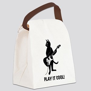 Cat Playing the Guitar Canvas Lunch Bag
