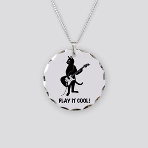 Cat Playing the Guitar Necklace Circle Charm