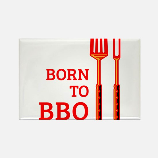 Born To BBQ Rectangle Magnet