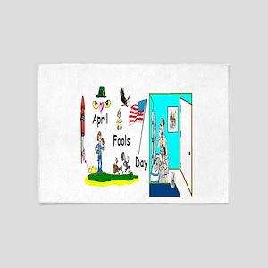 April Fools Day Fun Art 5'x7'Area Rug