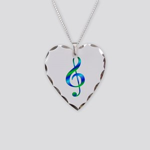 Colorful Treble Clef Necklace Heart Charm
