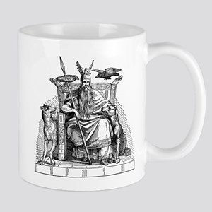 Odin with Ravens and Wolves woodcut Mug
