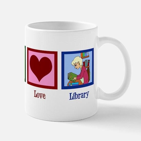Peace Love Library Mug