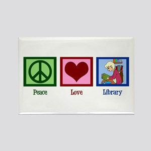 Peace Love Library Rectangle Magnet