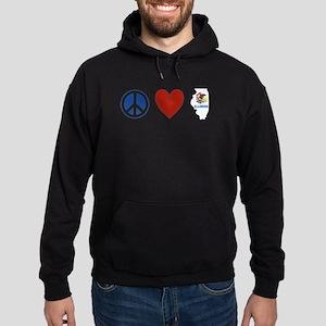 Peace Love Illinois Hoodie (dark)