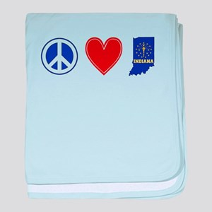 Peace Love Indiana baby blanket