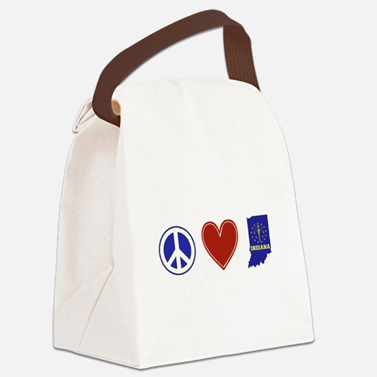 Peace Love Indiana Canvas Lunch Bag