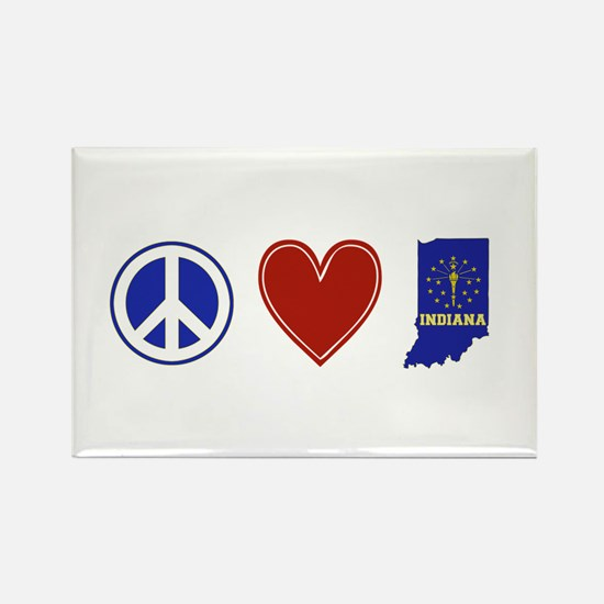 Peace Love Indiana Rectangle Magnet