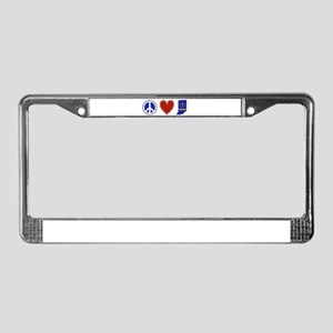 Peace Love Indiana License Plate Frame