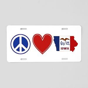 Peace Love Iowa Aluminum License Plate