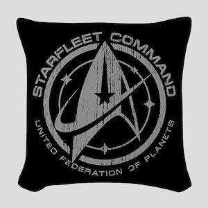 Vintage Starfleet Command Woven Throw Pillow