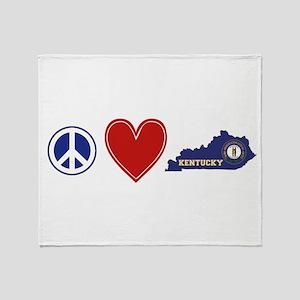 Peace Love Kentucky Throw Blanket