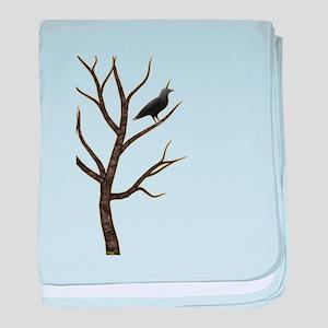 crowicorn crow in tree unicorn baby blanket