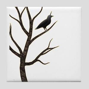 crowicorn crow in tree unicorn Tile Coaster