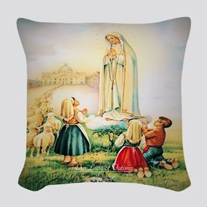 Our Lady of Fatima 1917 Woven Throw Pillow