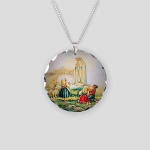 Our Lady of Fatima 1917 Necklace Circle Charm
