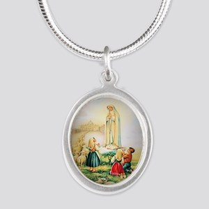 Our Lady of Fatima 1917 Silver Oval Necklace