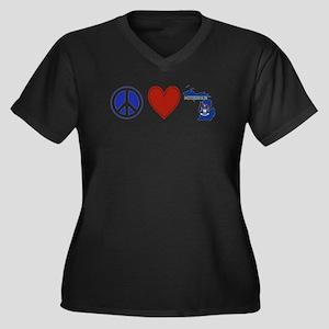 Peace Love Michigan Women's Plus Size V-Neck Dark