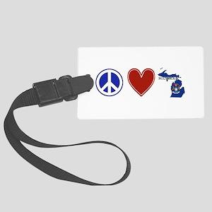 Peace Love Michigan Large Luggage Tag