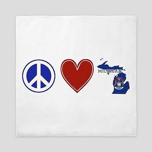 Peace Love Michigan Queen Duvet