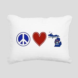 Peace Love Michigan Rectangular Canvas Pillow