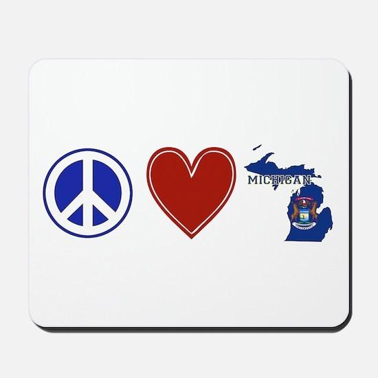 Peace Love Michigan Mousepad