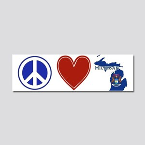 Peace Love Michigan Car Magnet 10 x 3