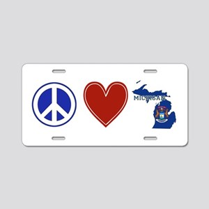 Peace Love Michigan Aluminum License Plate