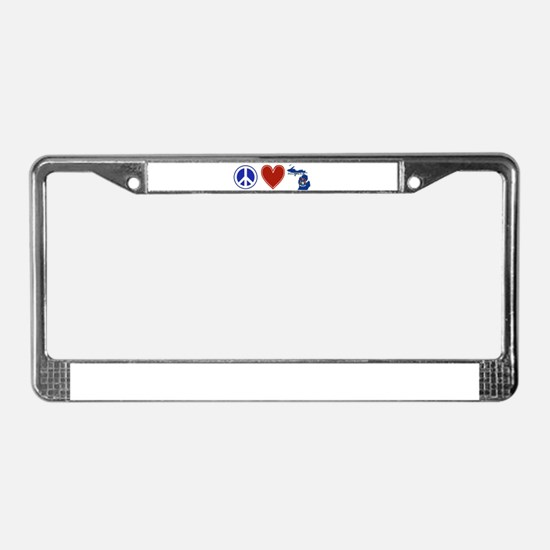 Peace Love Michigan License Plate Frame