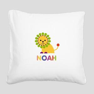 Noah Loves Lions Square Canvas Pillow