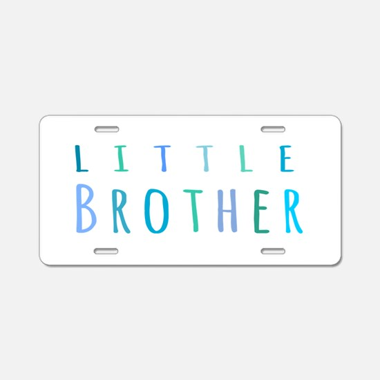 Little Brother in blue Aluminum License Plate