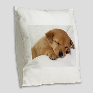 Cute Labrador Puppy Burlap Throw Pillow