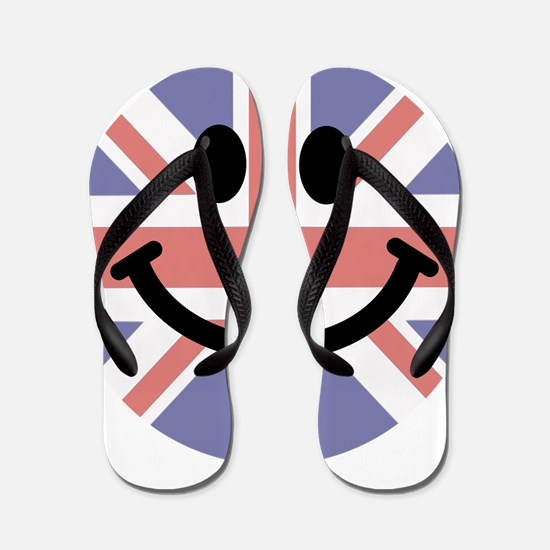British Flag Smiley face Flip Flops