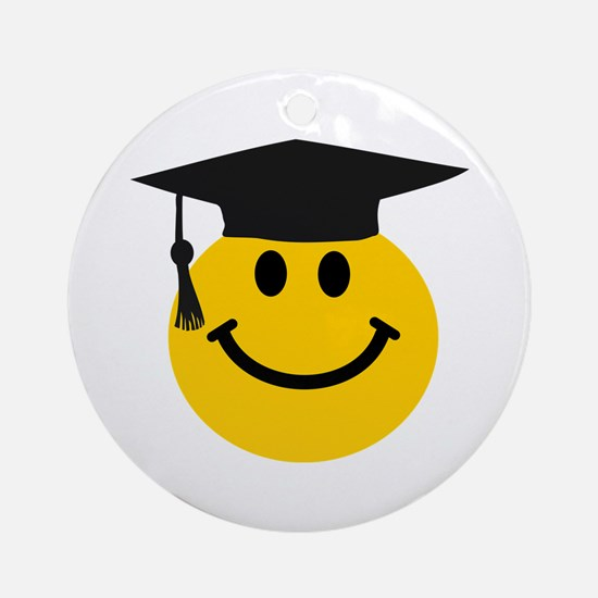 Graduate smiley face Ornament (Round)