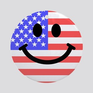 American Flag Smiley Face Ornament (Round)