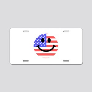 American Flag Smiley Face Aluminum License Plate