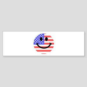 American Flag Smiley Face Bumper Sticker