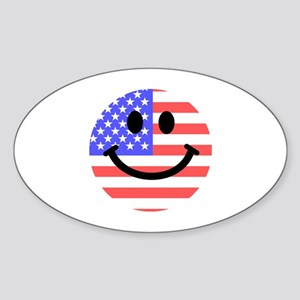 American Flag Smiley Face Sticker