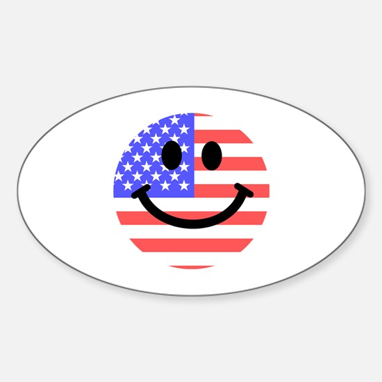 American Flag Smiley Face Decal