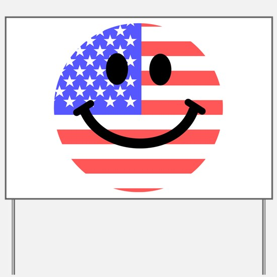 American Flag Smiley Face Yard Sign