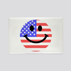American Flag Smiley Face Rectangle Magnet