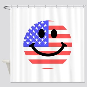 American Flag Smiley Face Shower Curtain