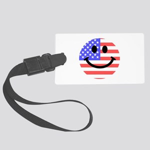 American Flag Smiley Face Large Luggage Tag