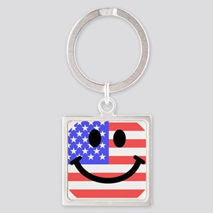 American Flag Smiley Face Keychains