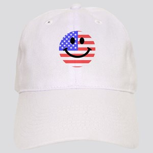 American Flag Smiley Face Cap