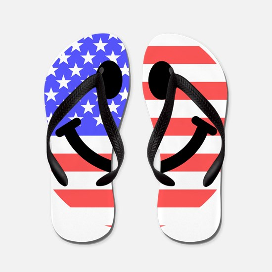American Flag Smiley Face Flip Flops