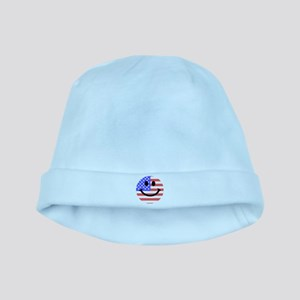 American Flag Smiley Face baby hat