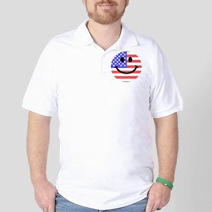 American Flag Smiley Face Golf Shirt