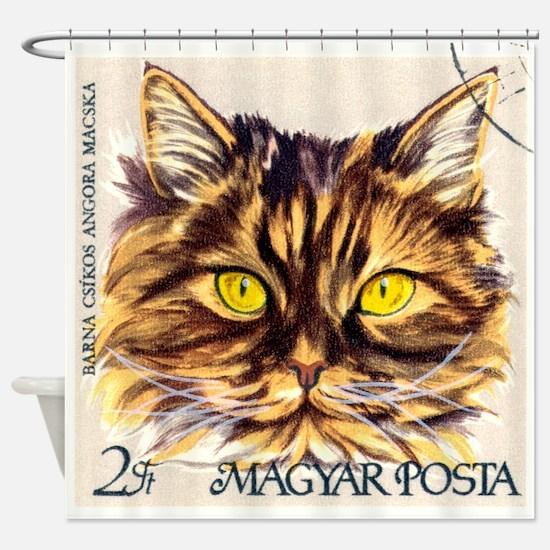 Vintage 1968 Hungary Angora Cat Postage Stamp Show