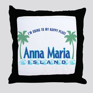 Anna Maria Island-Happy Place Throw Pillow
